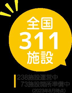 全国179施設/92施設運営中/87施設開所準備中(2021年8月時点)